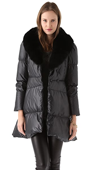 alice + olivia Gretchen Puffer Coat with Fur Collar