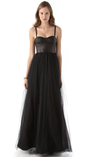 alice + olivia Ona Leather Bustier Gown