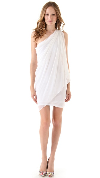 alice + olivia Chiffon One Shoulder Drape Dress