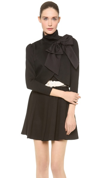 Alice + Olivia Addison Bow Crop Jacket - Black at Shopbop / East Dane
