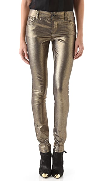 alice + olivia Metallic Skinny Jeans