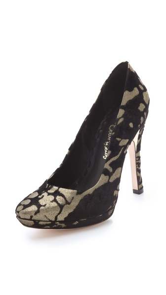 alice + olivia Helena Velvet Pumps