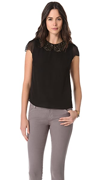 alice + olivia Maura Beaded Collar Top