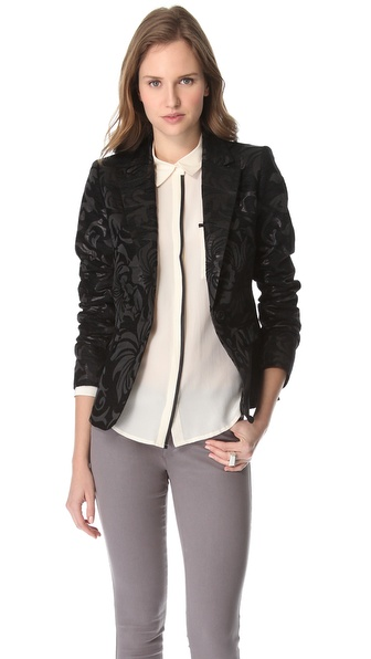 alice + olivia Elyse Brocade Blazer