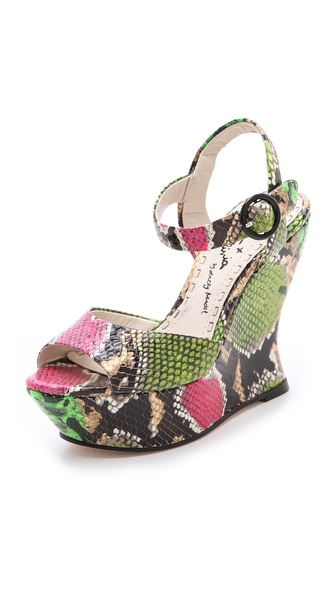 alice + olivia Jana Snake Print Wedge Sandals