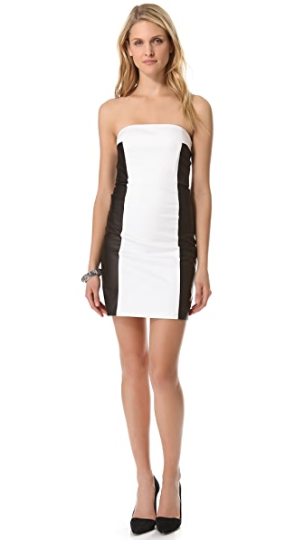 alice + olivia Sylvia Leather Colorblock Dress