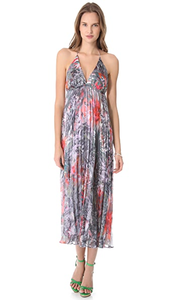 alice + olivia Laney Pleated Halter Dress