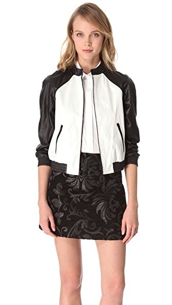 alice + olivia Raglan Sleeve Leather Jacket