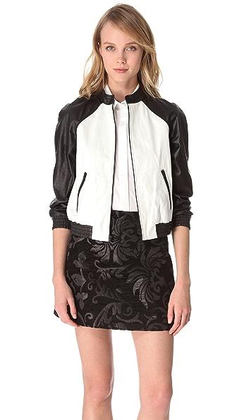 alice + olivia Raglan Sleeve Leather Jacket