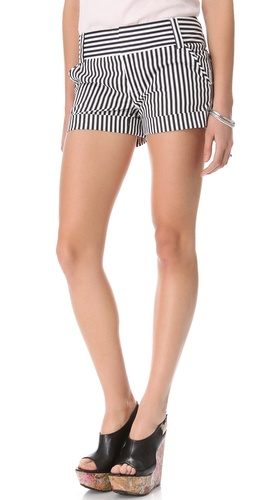 alice + olivia Striped Cady Cuff Shorts
