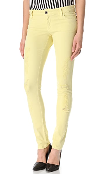 alice + olivia Distressed 5 Pocket Skinny Jeans