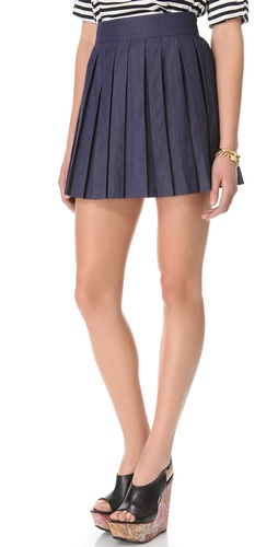 alice + olivia Chambray Box Pleat Skirt at Shopbop / East Dane