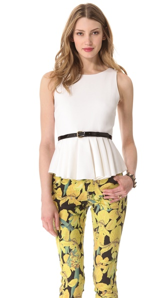 alice + olivia Brigitte Peplum Top