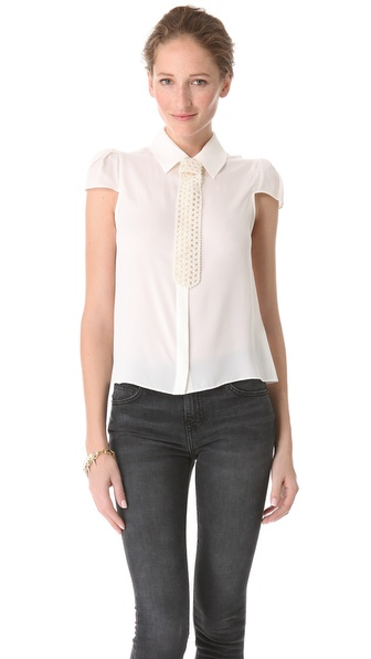 alice + olivia Torrey Tie Blouse