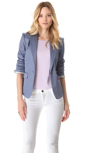 alice + olivia Elyse Chambray Blazer
