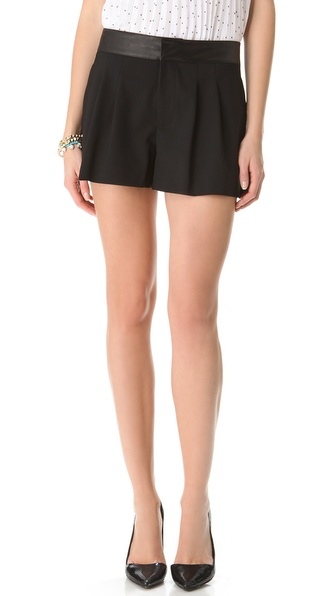 alice + olivia Leather Trim Flutter Shorts