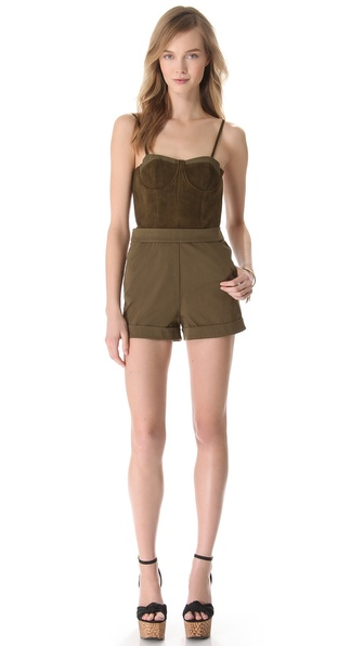 alice + olivia Suede Bodice Romper