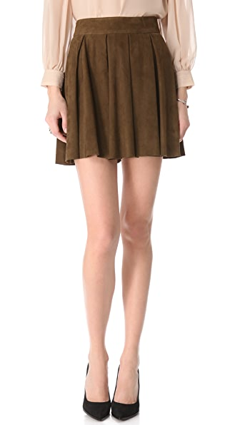 alice + olivia Milo Box Pleat Suede Skirt