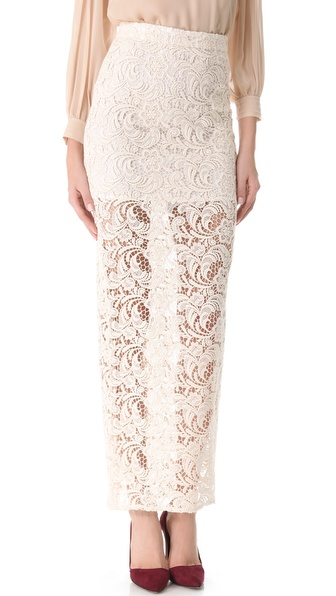 alice + olivia Ettley Crochet Maxi Skirt