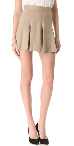 alice + olivia Box Pleat Khaki Skirt