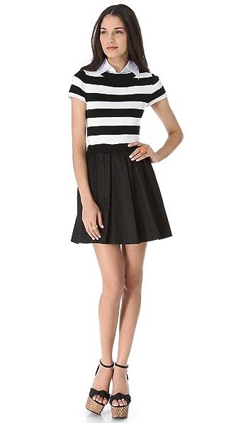 alice + olivia Collared Knit Stripe Dress