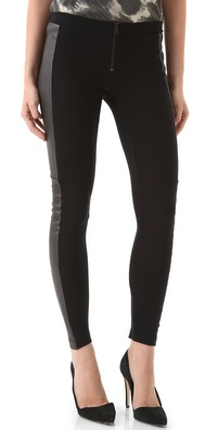 alice + olivia Front Zip Leggings with Leather Panels