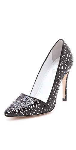 Shop alice + olivia Dina Laser Cut Pumps - alice + olivia online - Footwear,Womens,Footwear,Pumps_(Heels), at Lilychic Australian Clothes Online Store