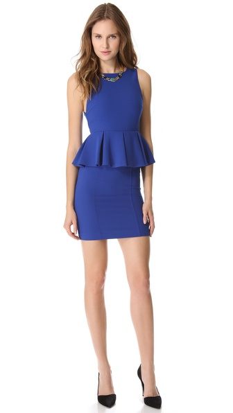 alice + olivia Pleated Peplum Dress