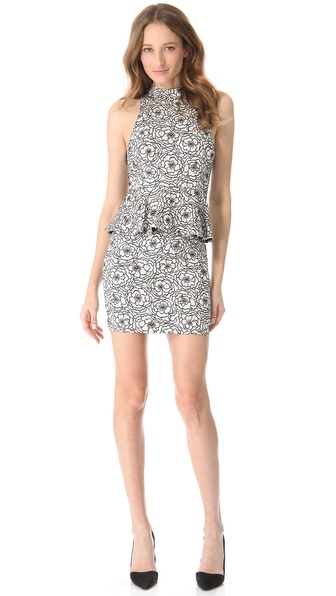 alice + olivia Lace Peplum Halter Dress