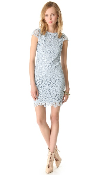 alice + olivia Lace Cap Sleeve Dress