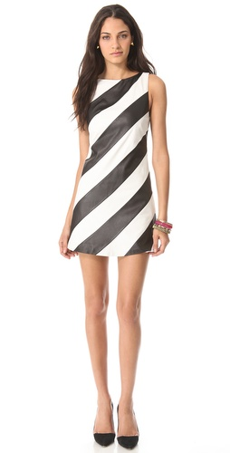 alice + olivia Leather Stripe A Line Dress