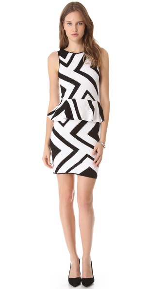 alice + olivia Geo Crochet Peplum Dress