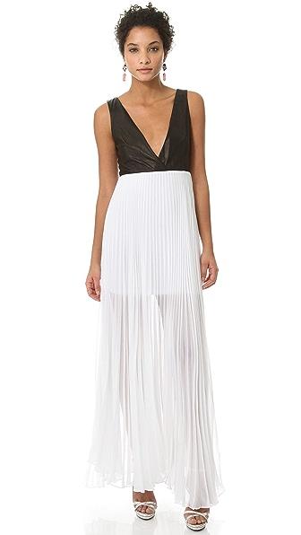 alice + olivia Leather Bodice Dress