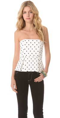 alice + olivia Strapless Peplum Top