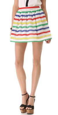 alice + olivia Belted Stripe Flare Skirt