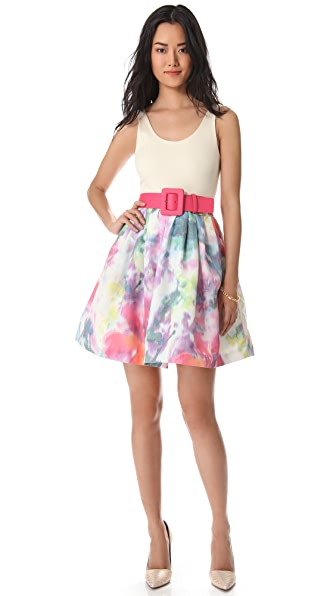 alice + olivia Scoop Neck Flare Floral Dress