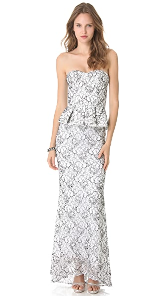 alice + olivia Strapless Peplum Mermaid Gown