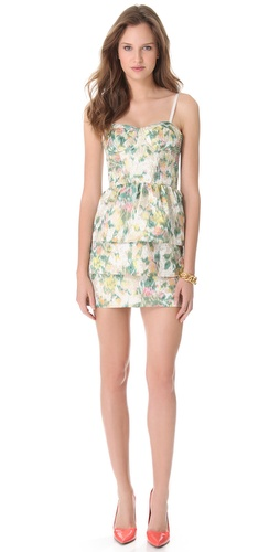 alice + olivia Bustier Tiered Floral Dress