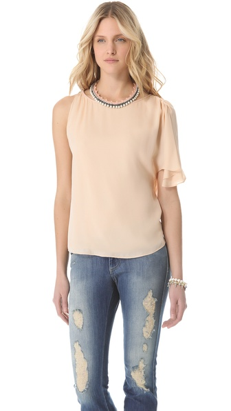 alice + olivia Leather Trim Tee