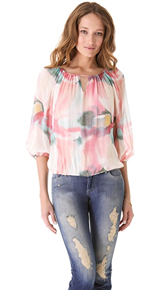 alice + olivia Puff Sleeve Print Blouse