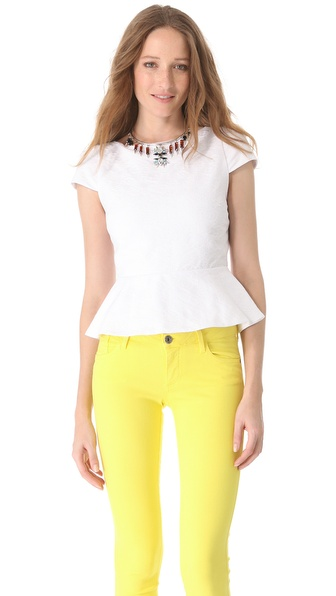 alice + olivia Boat Neck Peplum Top