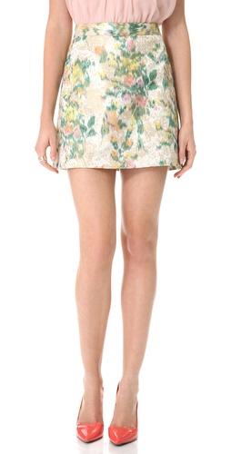alice + olivia Riley Floral A Line Skirt