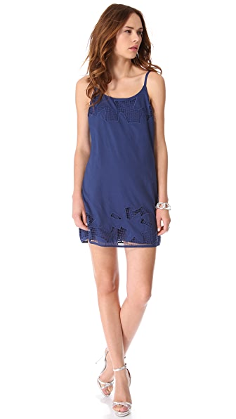 alice + olivia Rusell Embroidered Slip Dress