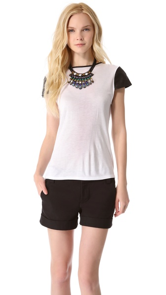 alice + olivia Anna Leather Sleeve Tee