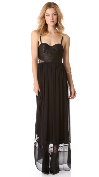 alice + olivia Elis Dress with Leather Bodice