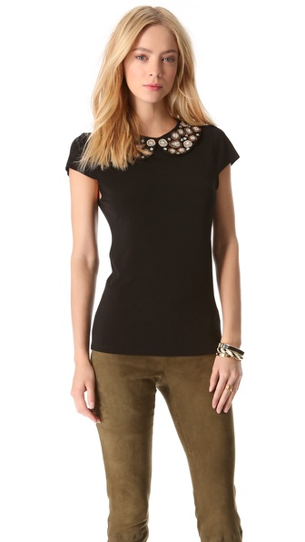 alice + olivia Marilla Embroidered Collar Top