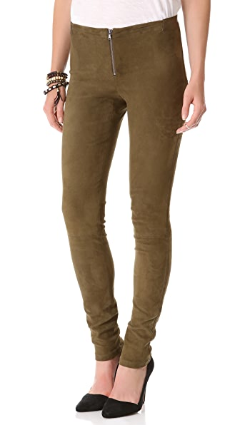 alice + olivia Suede Front Zip Leggings