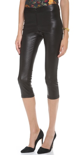 alice + olivia Cropped Leather Leggings with Zips at Shopbop / East Dane
