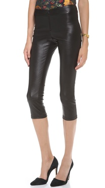 alice + olivia Cropped Leather Leggings with Zips