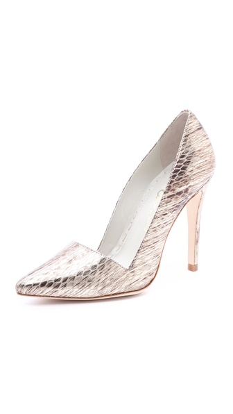 alice + olivia Dina Metallic Snake Print Pumps